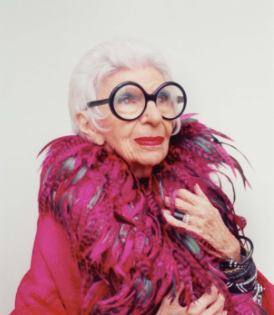 Iris Apfel in an irresistible feather boa from swarovskigroup.com.