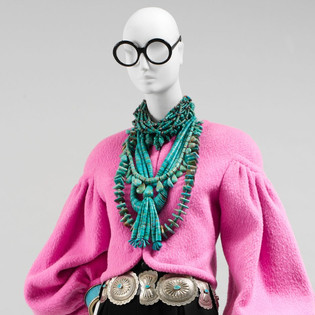 A vision from the Met exhibit devoted to Iris Apfel's wardrobe. . . More is more!