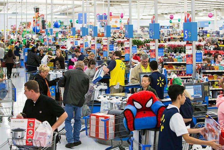 shoppers in walmart