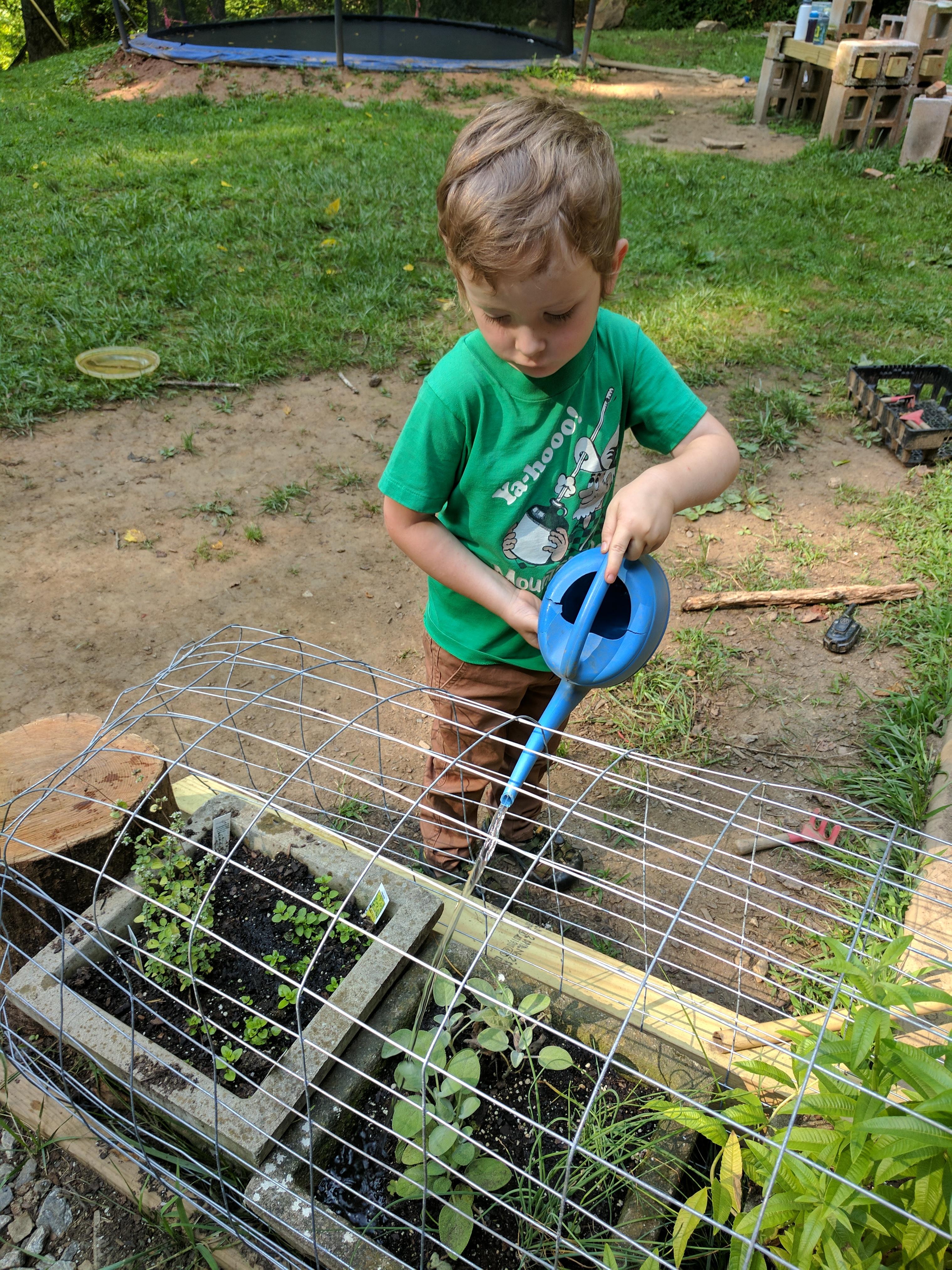 Asheville-farmstead-kids-watering-herbs