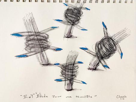 Étude Pour Une Tempête / 2019 / Ink on paper / 21 x 29,7 cm / Photo: Chacin-Art
