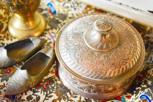 floral engraved brass jewlery box