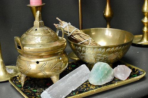 brass incense burning pot