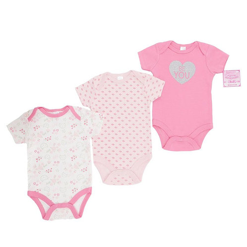 3 Pack 'Be You' Printed Bodysuits (0-9M)