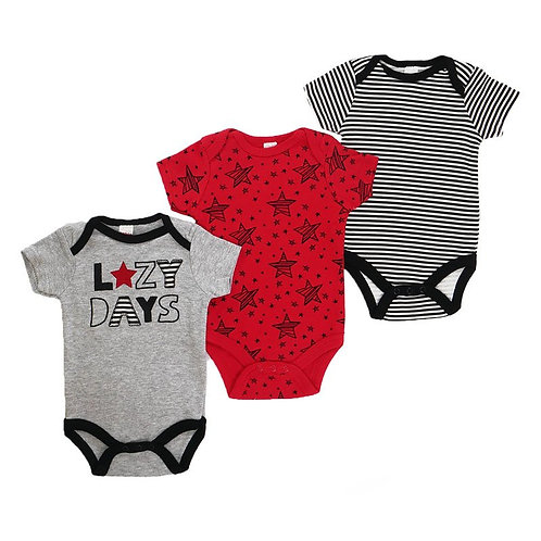 'Lazy Days' 3 Pack Printed Bodysuits (0-9M)