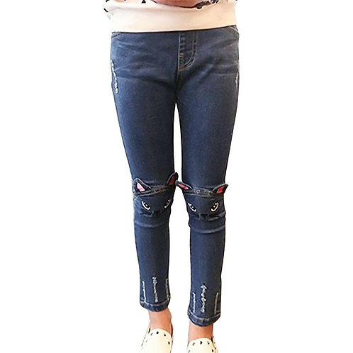 Cute Cat Design Jeans