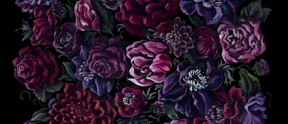 Dark Florals Red