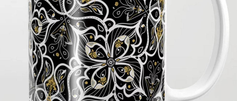 Black Pansy Coffee Mug