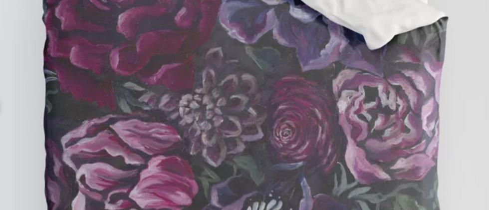 Dark Florals Red Duvet Cover