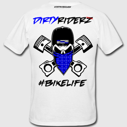 Pré-commande/Tee Shirt #DIRTYSKULL (Bleu/Blanc)