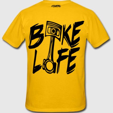Tee Shirt #BIKELIFE (Jaune et Noir)