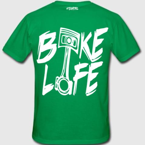 Tee Shirt #BIKELIFE (Vert et Blanc)