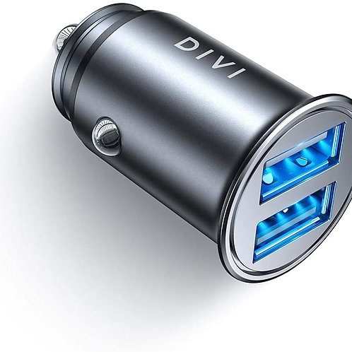 DIVI Car Charger, USB Car Charger 12V/ 24V Car Adaptor with Mini Size Dual Port(
