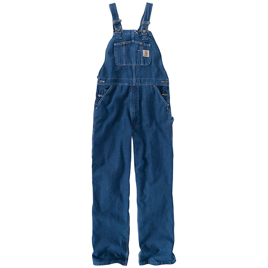 Loose Fit Washed Denim Bib Overall