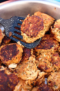 Up close image of crab cakes