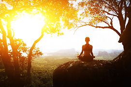 Serenity and yoga practicing meditation.