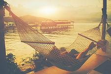 Lady sleep enjoying hammock tropical bea