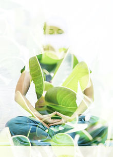 Double exposure photograph of meditating