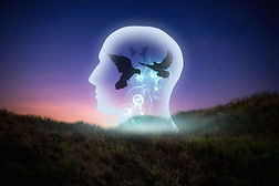 Freedom of thought, light, human head In