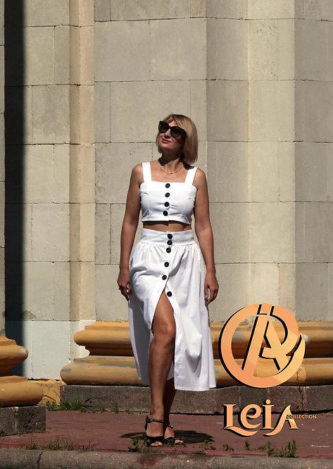 Костюм прогулочный, летний белый костюм, юбка и топ.