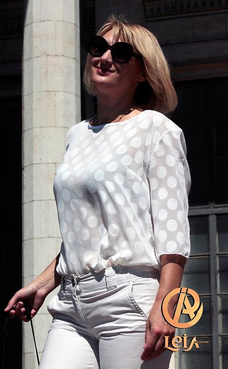 Блузка классическая, блузка из шифона, блузка в горох.