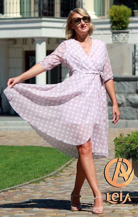 Платье в горошек , платье с запахом