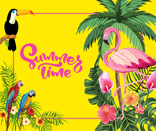 Fun Tropical Style Hello Summer Time Facebook Post.png
