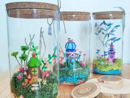 """Les terrariums"""" un temps pour rêver """"  Ceux là, pas besoin de les arroser ☺️"""