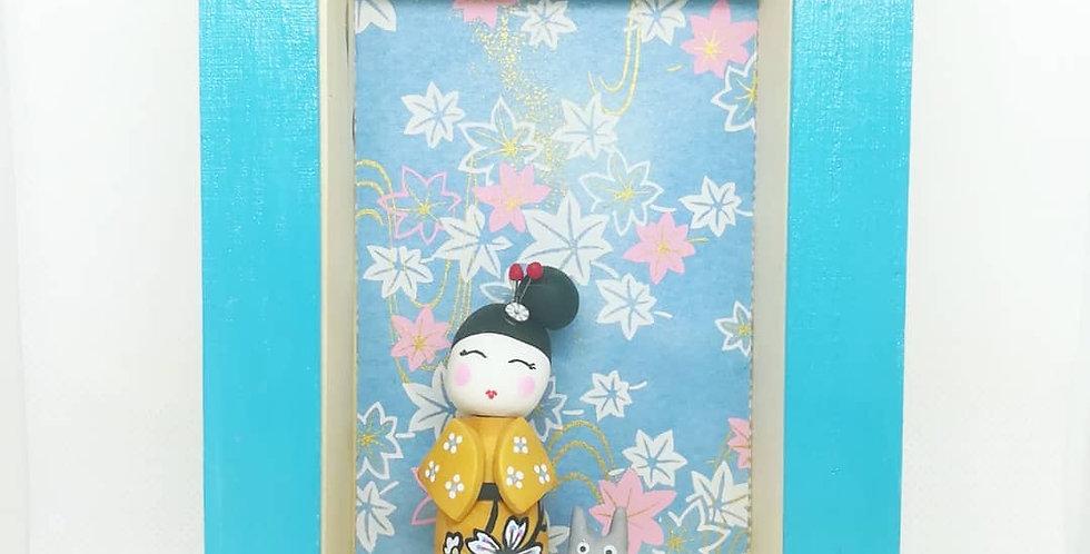 Cadre vitrine Kokeshi- ref3