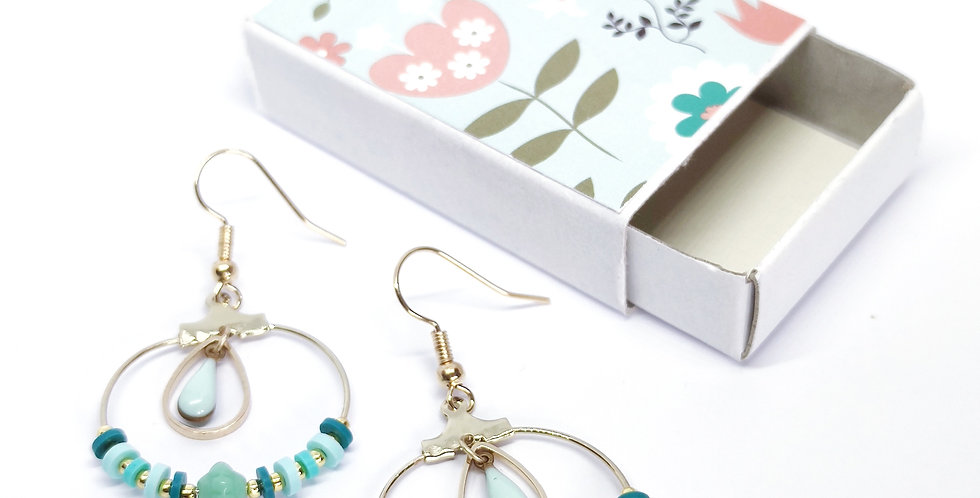 Boucles d'oreilles perles heishi- ref5
