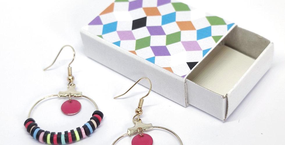 Boucles d'oreilles perles heishi- ref7