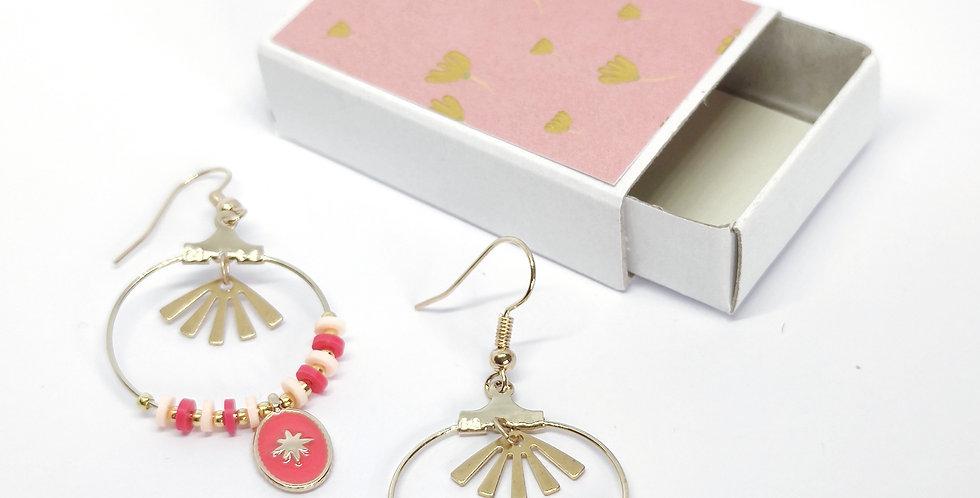 Boucles d'oreilles perles heishi- ref4