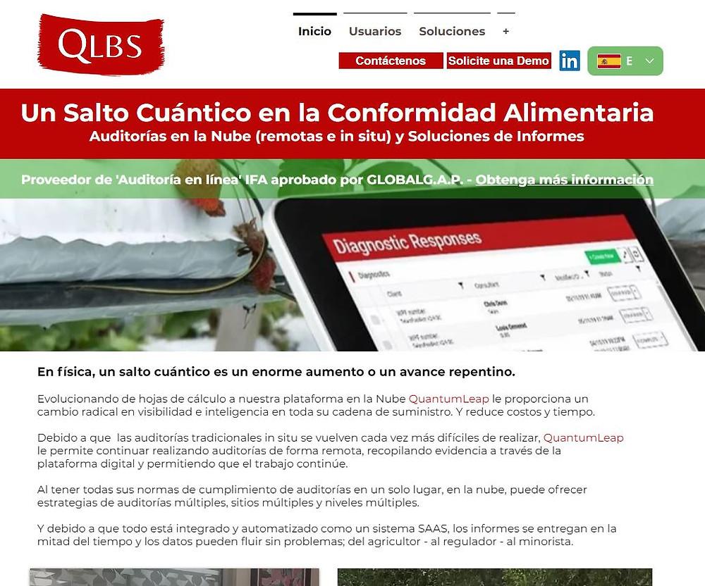 Screenshot of the QuantumLeap website in Spanish
