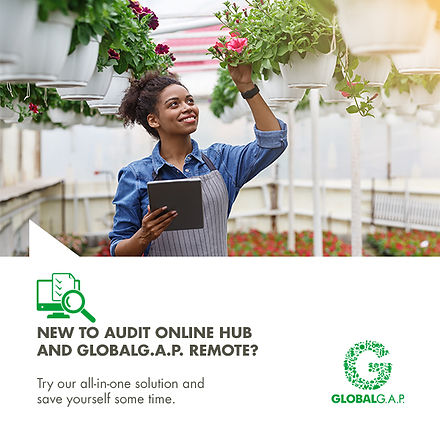 GLOBALG.A.P. Imgae of auditor inspecting flowers with laptop remotely