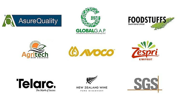 QLBS Customer logos, Asure Quality, GLOBALG.A.P., Foodstuffs, Agritech, Avoco, Zespri, Telarc, New Zealand Wine, SGS