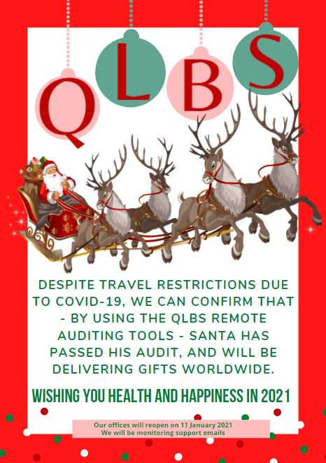 Christmas Message from QLBS with reindeer and santa