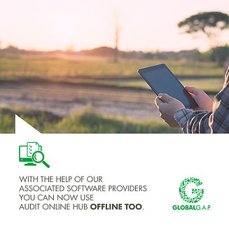GLOBALG.A.P. Image of auditor using a tablet on a farm, offline