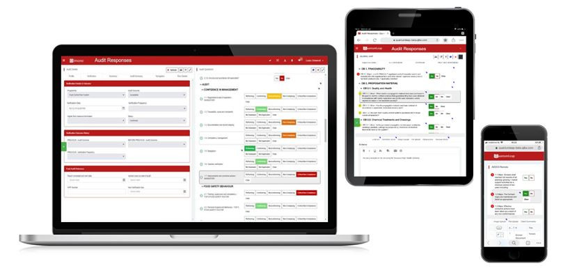 QuantumLeap audit application displayed on a laptop and two mobile devices.