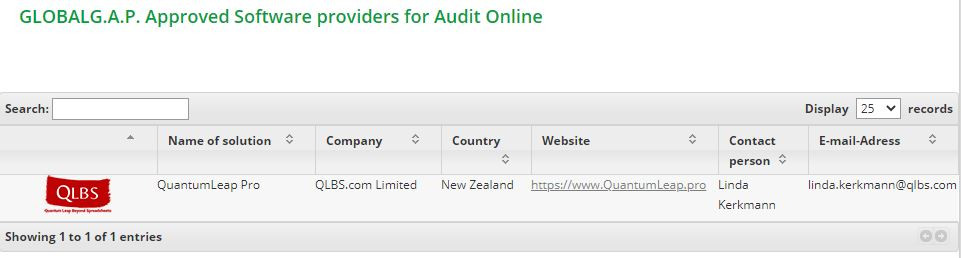 Screenshot of QLBS as an Approved Software provider for GLOBALG.A.P.Audit Online