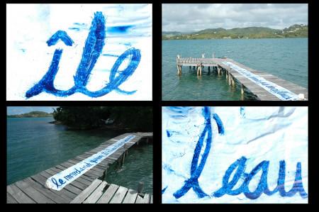 """L'ilet a l'eau / Martinique / 2007   l'île a l'eau """"Le monde est une île à l'eau où nous sommes que des cailleux """" """"The world is a waterislandwhere we are small stones """"  Installation on the island """"île a l'eau""""( translate in english by waterisland) in Martinique"""