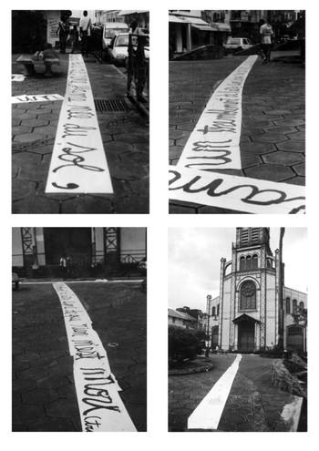 """Transmissions / Martinique / 2007  Poetry written on the ground in the city of Fort de France.Release of the book Moi Laminaire: """"Transmission"""" by the writer Aimé Césaire,      """"... un signe, un rien une lueur au bas du ciel une flamme née du sol un tremblement de l'air le signe que rien n'est mort...""""  """"... A sign, nothing a light low in the sky a flame born the ground a flicker from the air a sign that nothing is death ... """""""