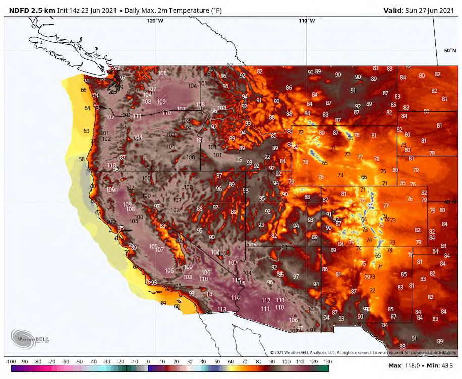 Forecast highs Sunday in the West from the National Weather Service. (WeatherBell)