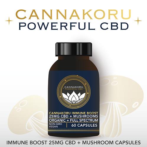 CannaKoru Immune Boost 25MG CBD + Mushroom Blend Capsules, 60 Count