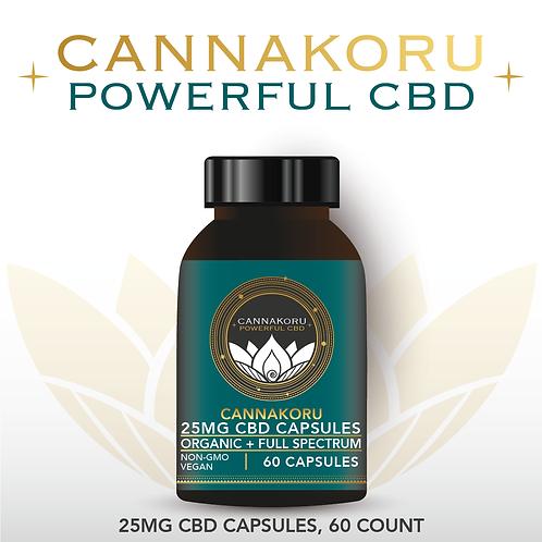 Wholesale CannaKoru Organic 25mg CBD Capsules, 60 Count