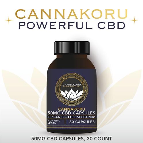 CannaKoru Organic 50mg CBD Capsules, 30 Count