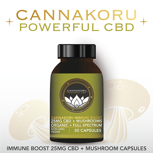 Wholesale CannaKoru Immune Boost 25MG CBD + Mushroom Blend Capsules, 30 Count
