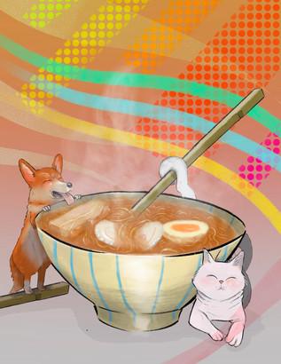 dog & cat with ramen