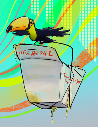 toucans with a box