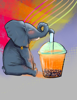 elphan & bubble tea