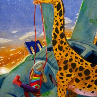 giraffe and kid
